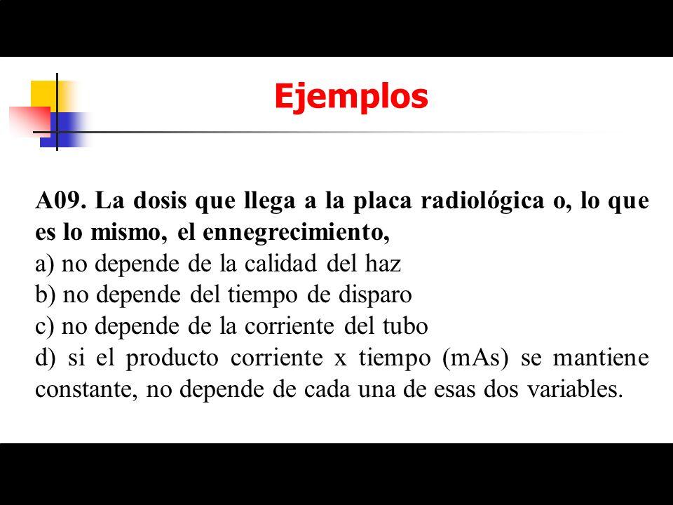 EjemplosA09. La dosis que llega a la placa radiológica o, lo que es lo mismo, el ennegrecimiento, a) no depende de la calidad del haz.