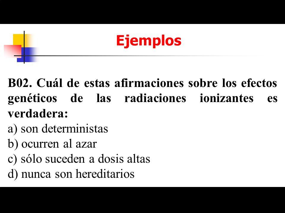 EjemplosB02. Cuál de estas afirmaciones sobre los efectos genéticos de las radiaciones ionizantes es verdadera: