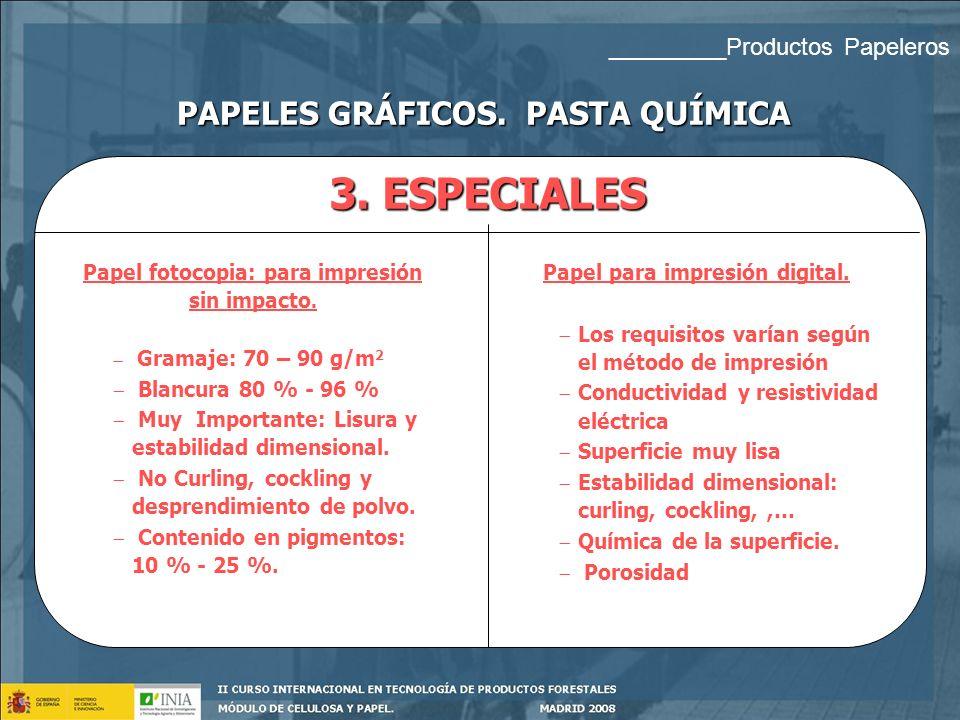 3. ESPECIALES PAPELES GRÁFICOS. PASTA QUÍMICA