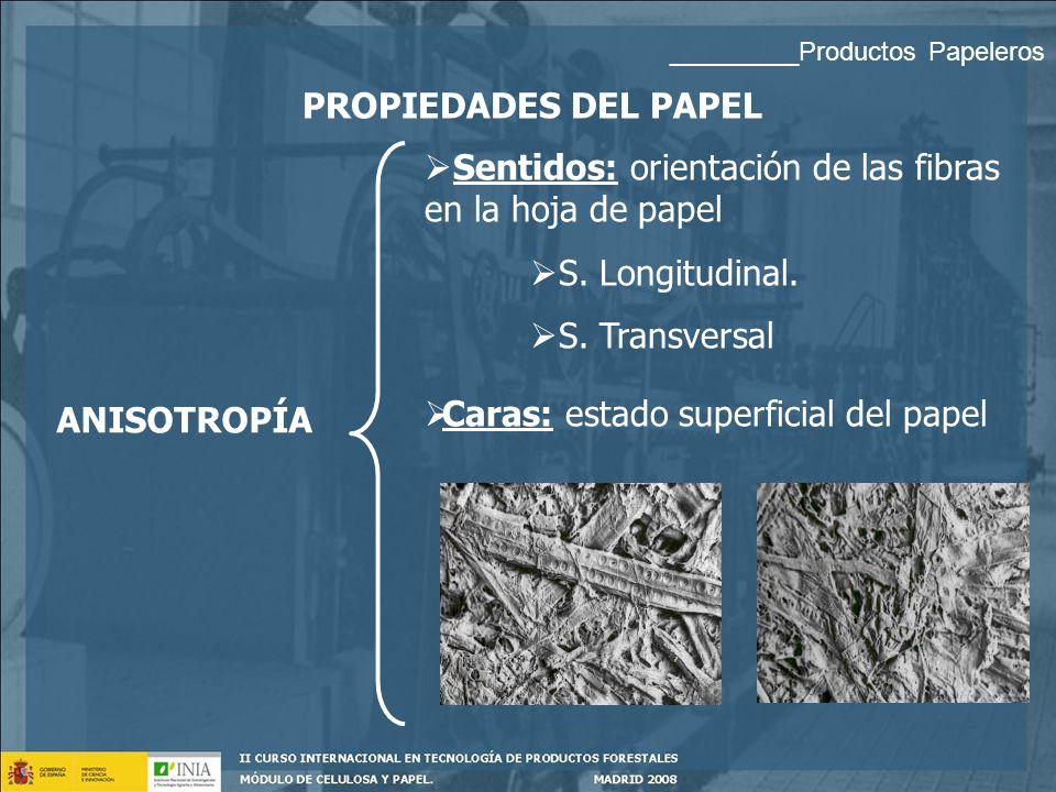 Sentidos: orientación de las fibras en la hoja de papel