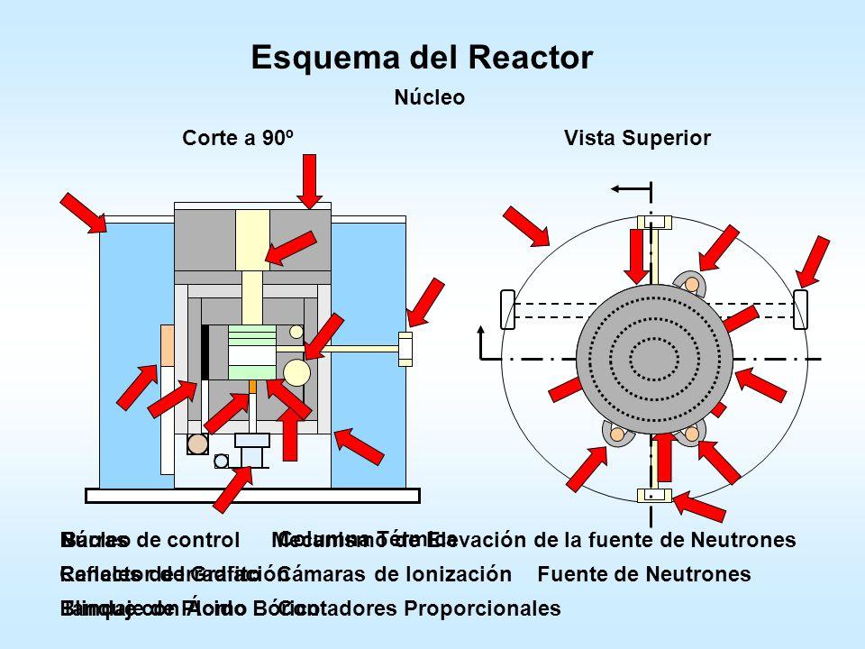 Esquema del Reactor Núcleo Corte a 90º Vista Superior Núcleo