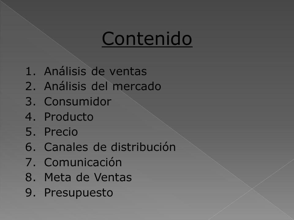 Contenido Análisis de ventas Análisis del mercado Consumidor Producto