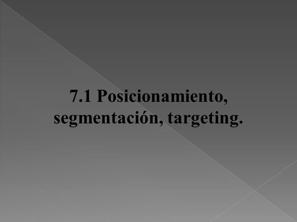 7.1 Posicionamiento, segmentación, targeting.