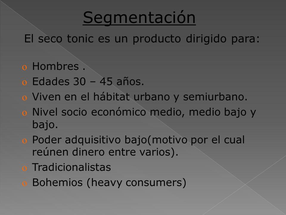 Segmentación El seco tonic es un producto dirigido para: Hombres .