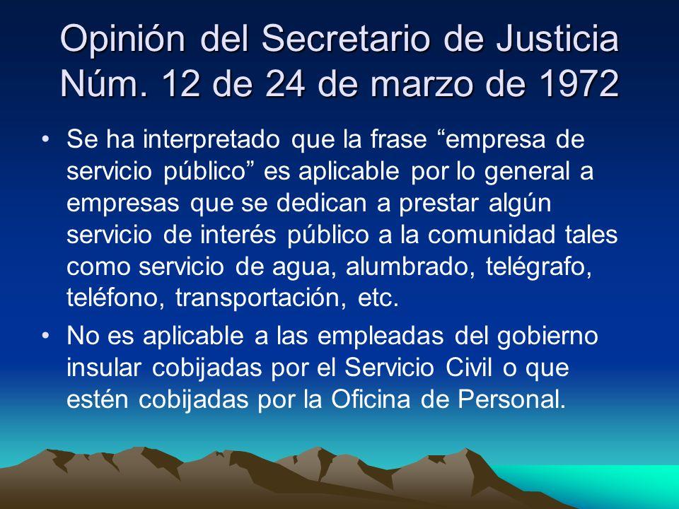 Opinión del Secretario de Justicia Núm. 12 de 24 de marzo de 1972