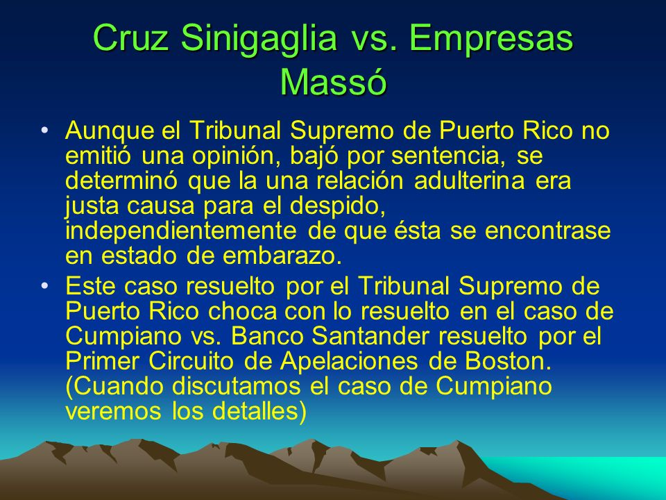 Cruz Sinigaglia vs. Empresas Massó
