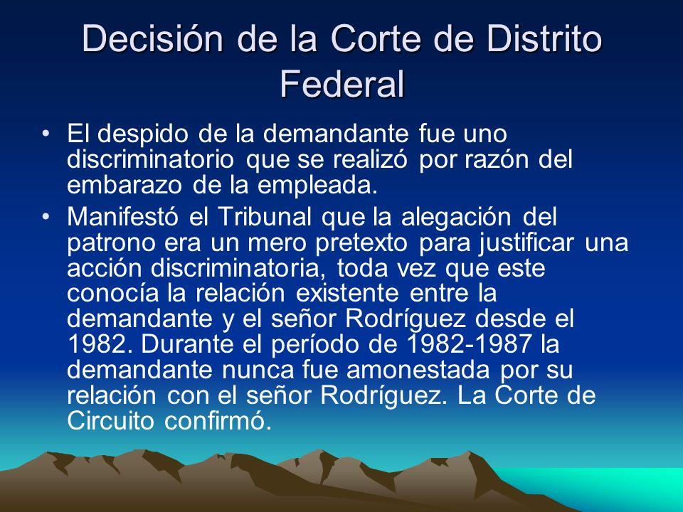 Decisión de la Corte de Distrito Federal