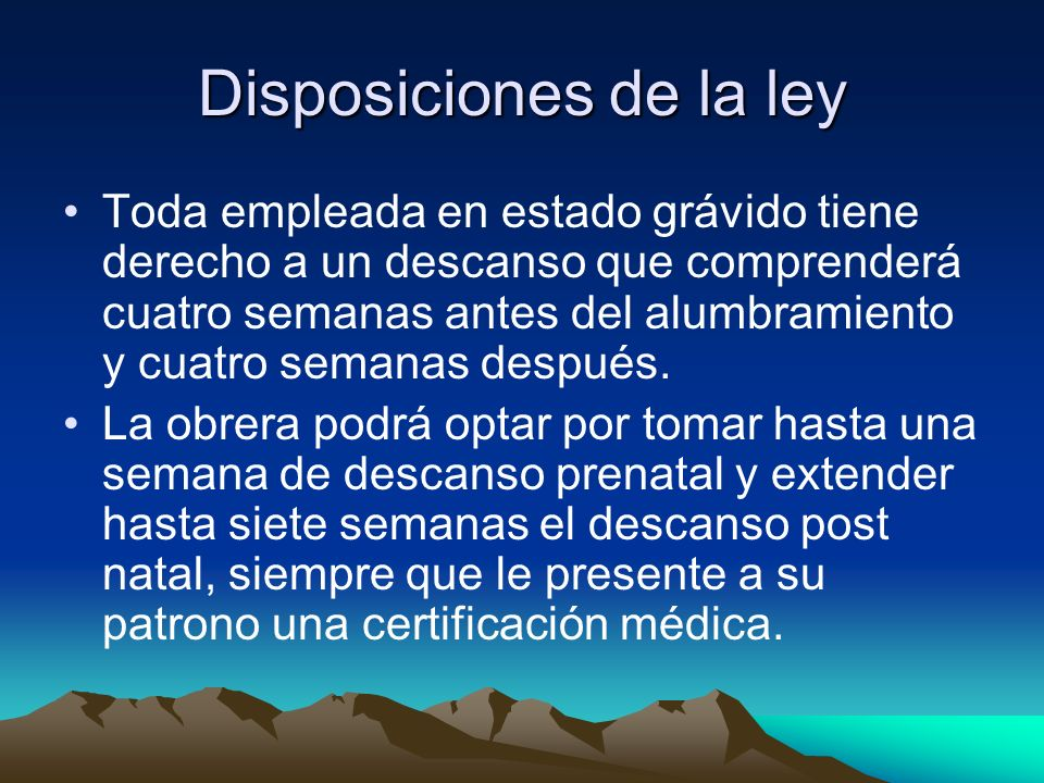 Disposiciones de la ley