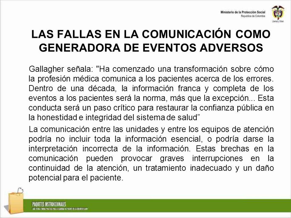 LAS FALLAS EN LA COMUNICACIÓN COMO GENERADORA DE EVENTOS ADVERSOS