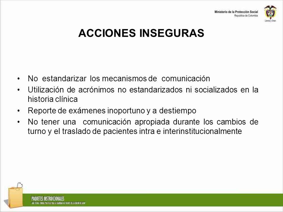 ACCIONES INSEGURAS No estandarizar los mecanismos de comunicación