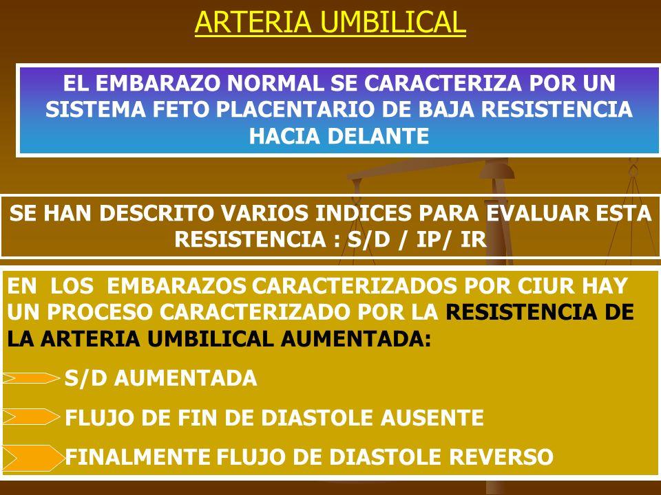ARTERIA UMBILICAL EL EMBARAZO NORMAL SE CARACTERIZA POR UN SISTEMA FETO PLACENTARIO DE BAJA RESISTENCIA HACIA DELANTE.