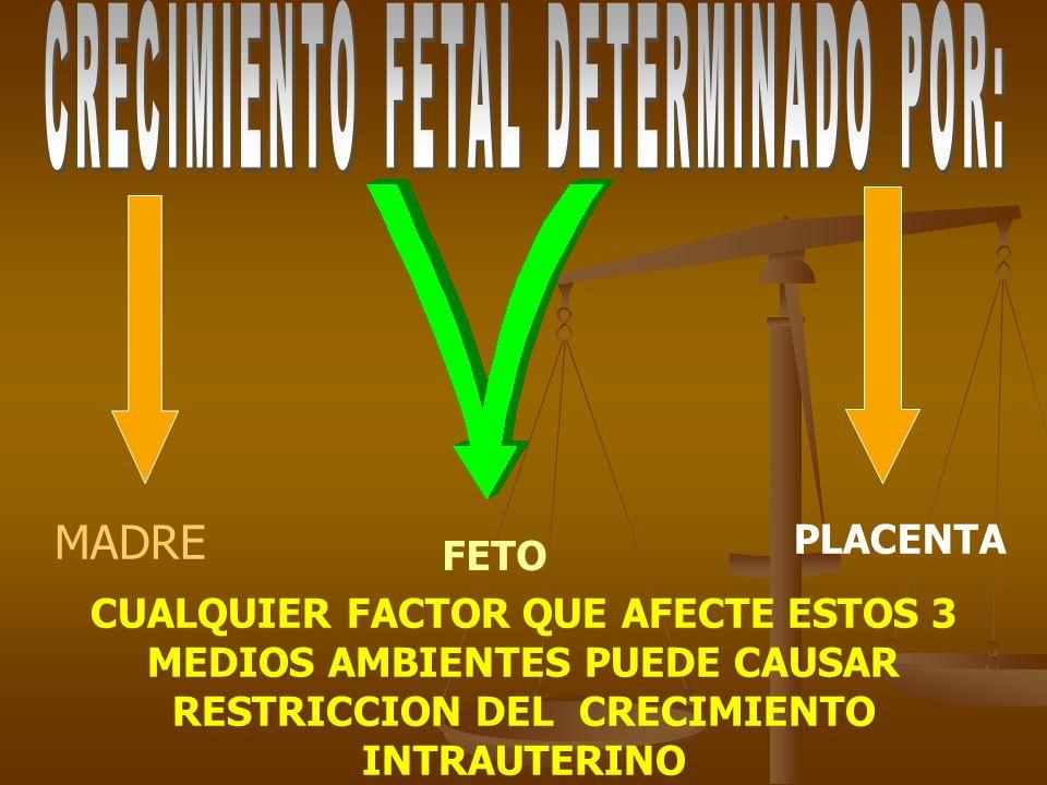 CRECIMIENTO FETAL DETERMINADO POR: