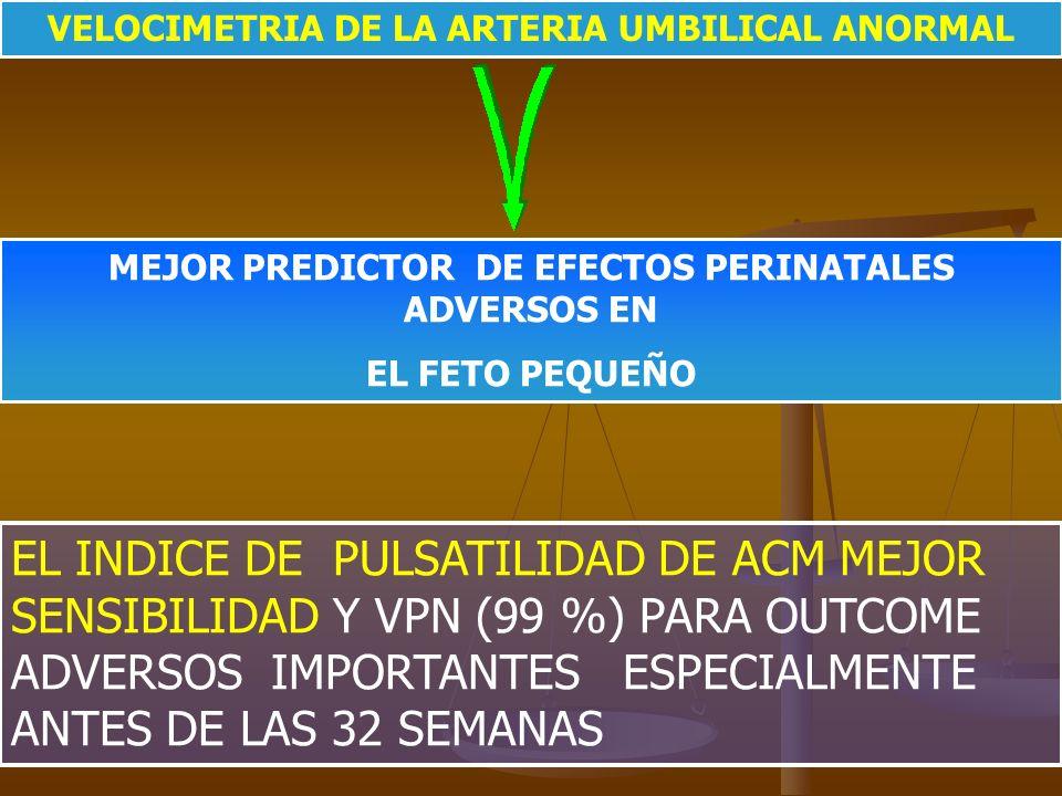 VELOCIMETRIA DE LA ARTERIA UMBILICAL ANORMAL