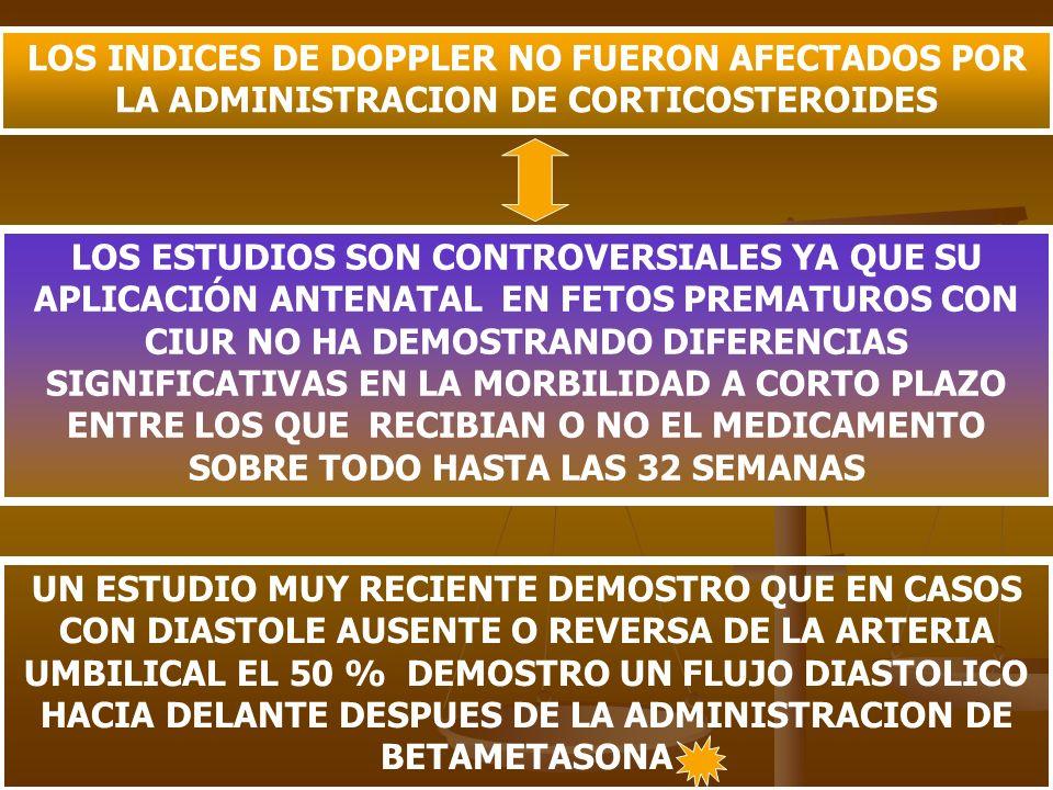LOS INDICES DE DOPPLER NO FUERON AFECTADOS POR LA ADMINISTRACION DE CORTICOSTEROIDES