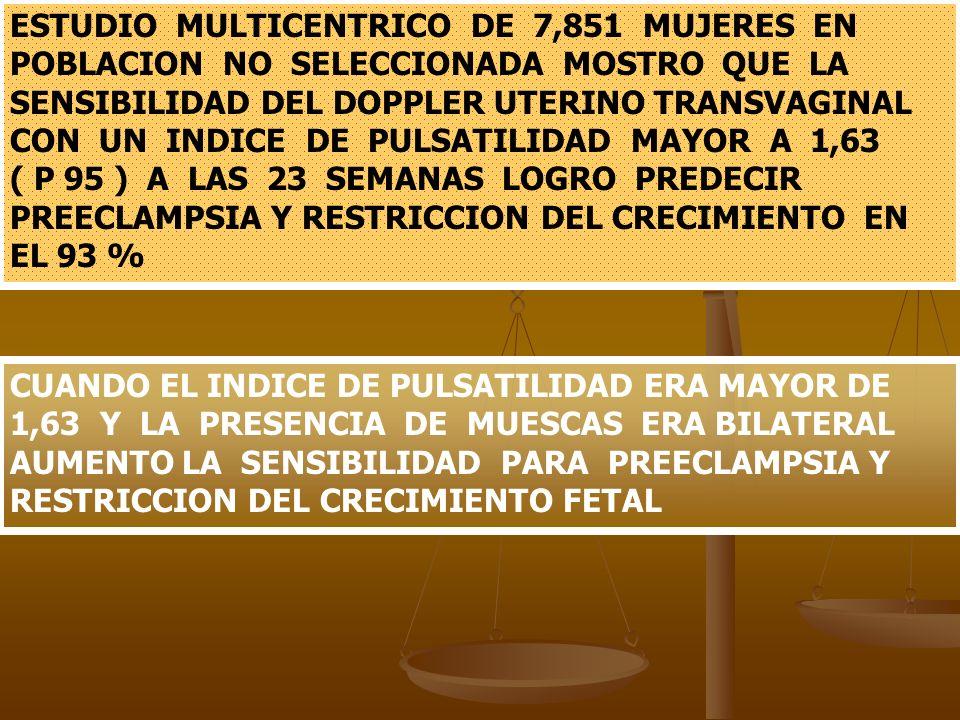 ESTUDIO MULTICENTRICO DE 7,851 MUJERES EN POBLACION NO SELECCIONADA MOSTRO QUE LA SENSIBILIDAD DEL DOPPLER UTERINO TRANSVAGINAL CON UN INDICE DE PULSATILIDAD MAYOR A 1,63 ( P 95 ) A LAS 23 SEMANAS LOGRO PREDECIR PREECLAMPSIA Y RESTRICCION DEL CRECIMIENTO EN EL 93 %