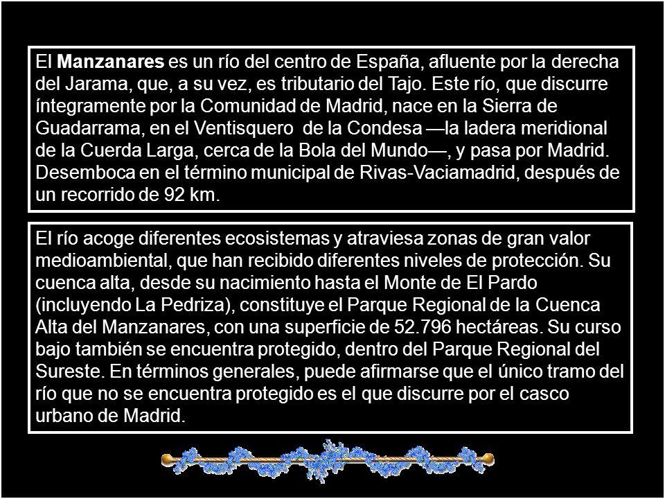 El Manzanares es un río del centro de España, afluente por la derecha del Jarama, que, a su vez, es tributario del Tajo. Este río, que discurre íntegramente por la Comunidad de Madrid, nace en la Sierra de Guadarrama, en el Ventisquero de la Condesa —la ladera meridional de la Cuerda Larga, cerca de la Bola del Mundo—, y pasa por Madrid. Desemboca en el término municipal de Rivas-Vaciamadrid, después de un recorrido de 92 km.