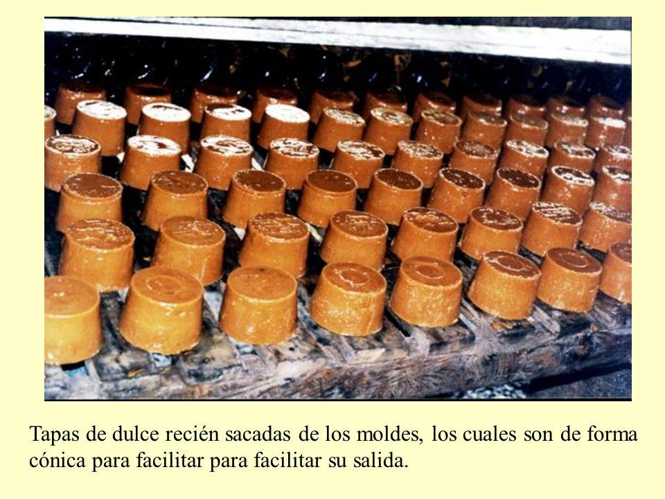 Tapas de dulce recién sacadas de los moldes, los cuales son de forma