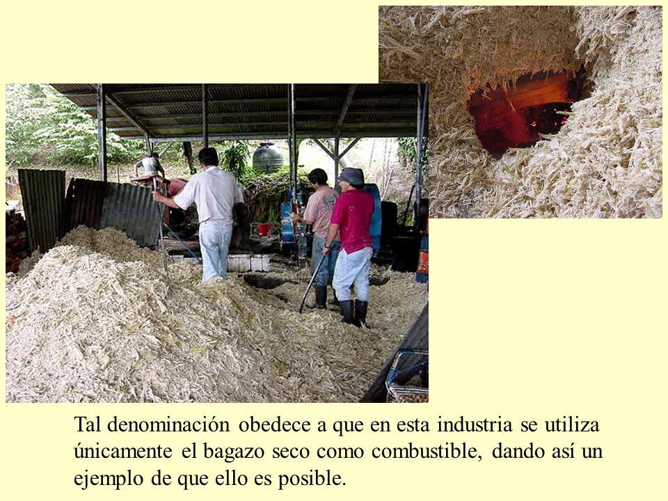Tal denominación obedece a que en esta industria se utiliza únicamente el bagazo seco como combustible, dando así un ejemplo de que ello es posible.