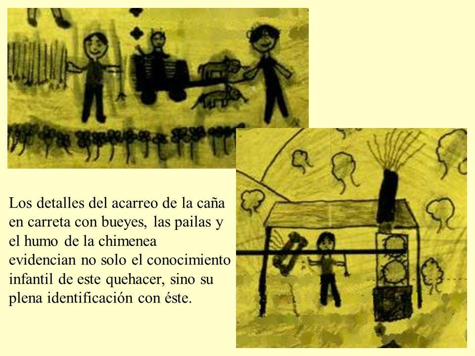 Los detalles del acarreo de la caña en carreta con bueyes, las pailas y el humo de la chimenea