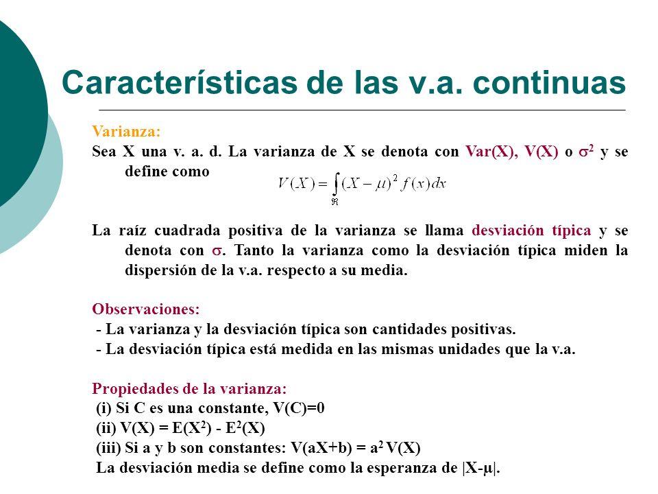 Características de las v.a. continuas
