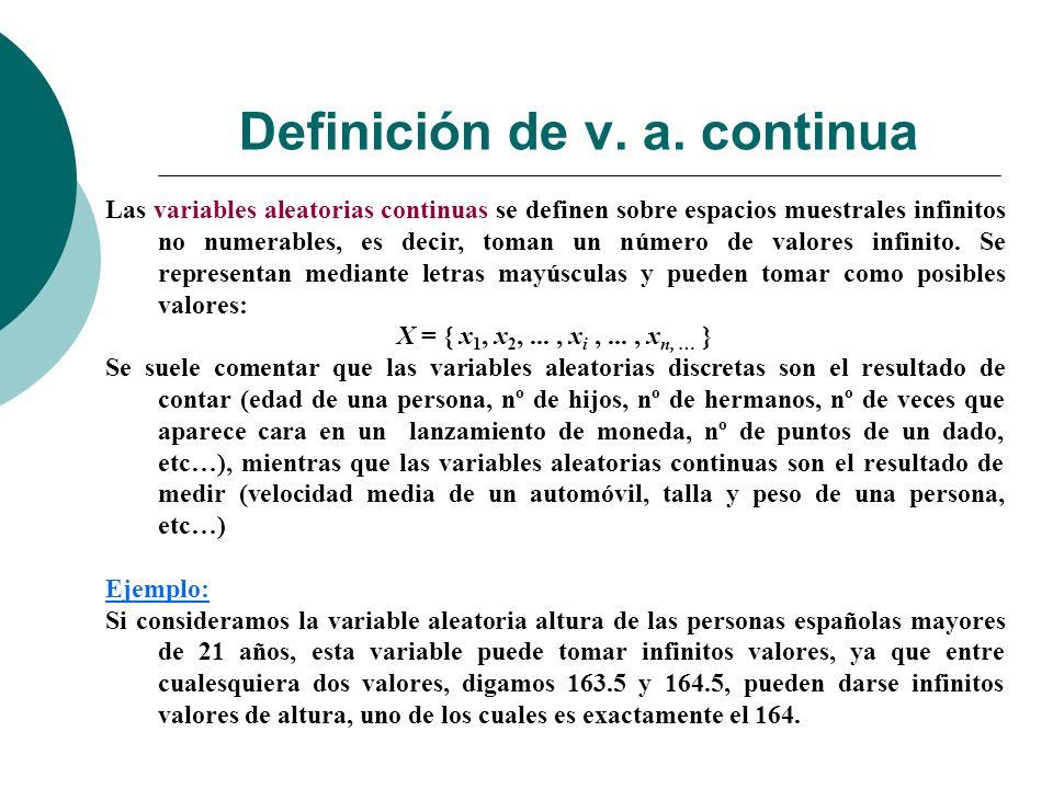 Definición de v. a. continua