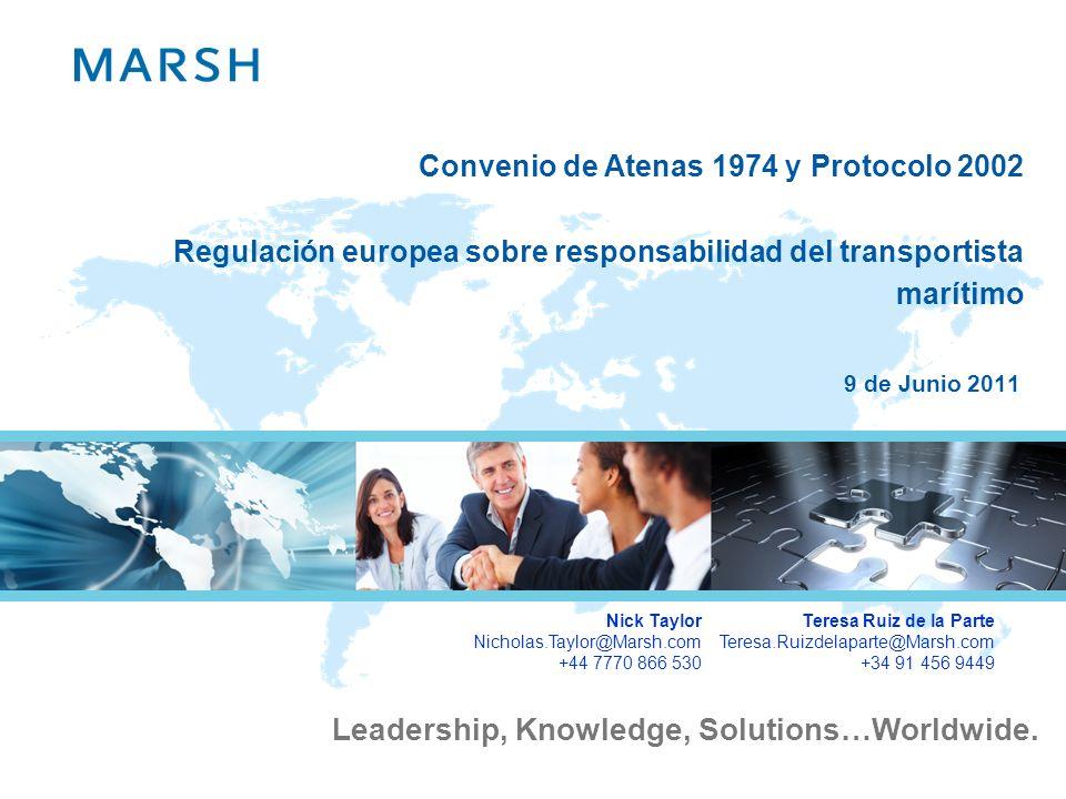 Convenio de Atenas 1974 y Protocolo 2002 Regulación europea sobre responsabilidad del transportista marítimo