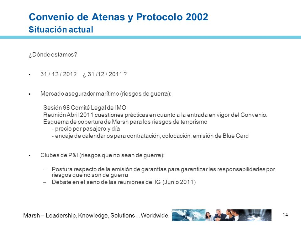 Convenio de Atenas y Protocolo 2002 Situación actual