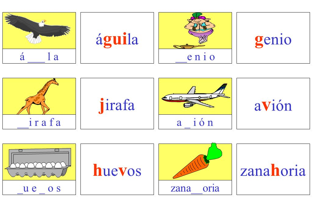 genio jirafa huevos águila avión zanahoria á ___ l a __e n i o
