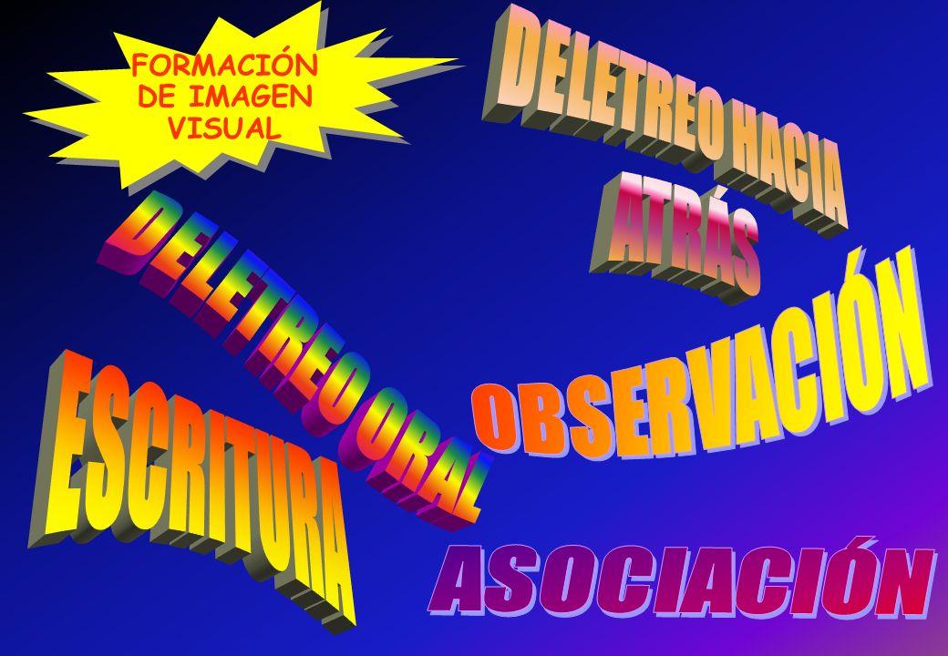 DELETREO HACIA ATRÁS OBSERVACIÓN DELETREO ORAL ESCRITURA ASOCIACIÓN