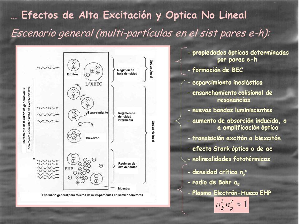 … Efectos de Alta Excitación y Optica No Lineal