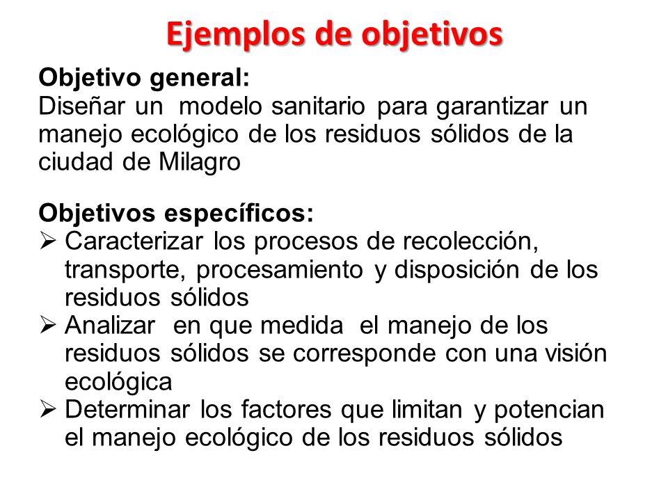 Ejemplos de objetivos Objetivo general: