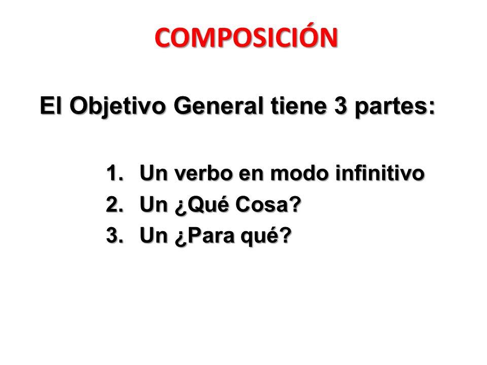 COMPOSICIÓN El Objetivo General tiene 3 partes: