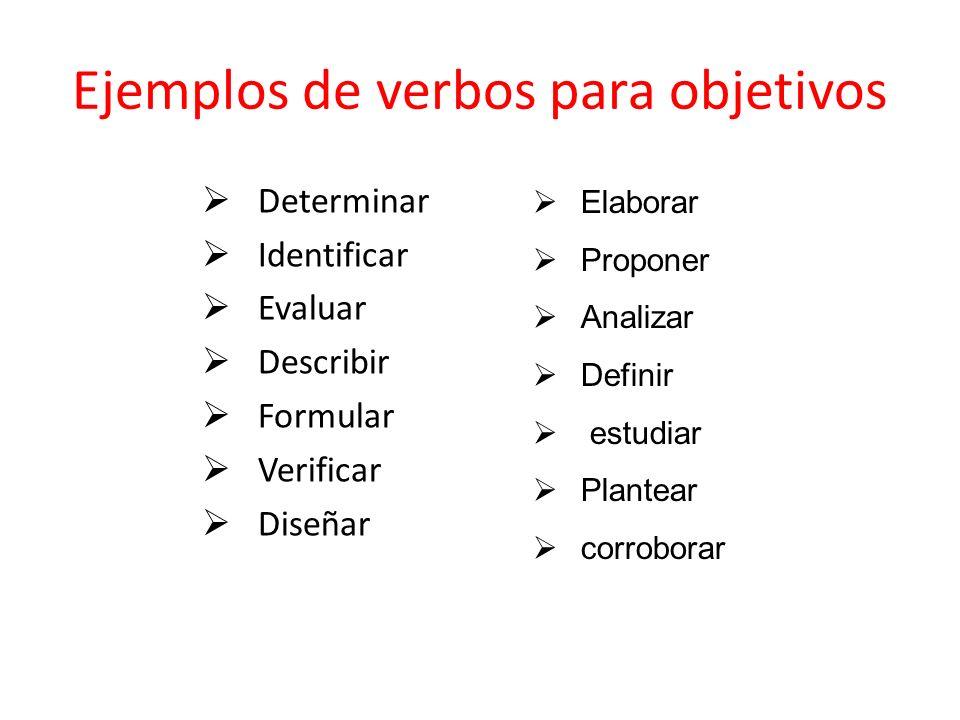 Ejemplos de verbos para objetivos