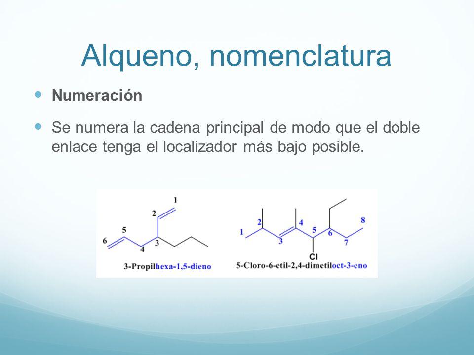 Alqueno, nomenclatura Numeración