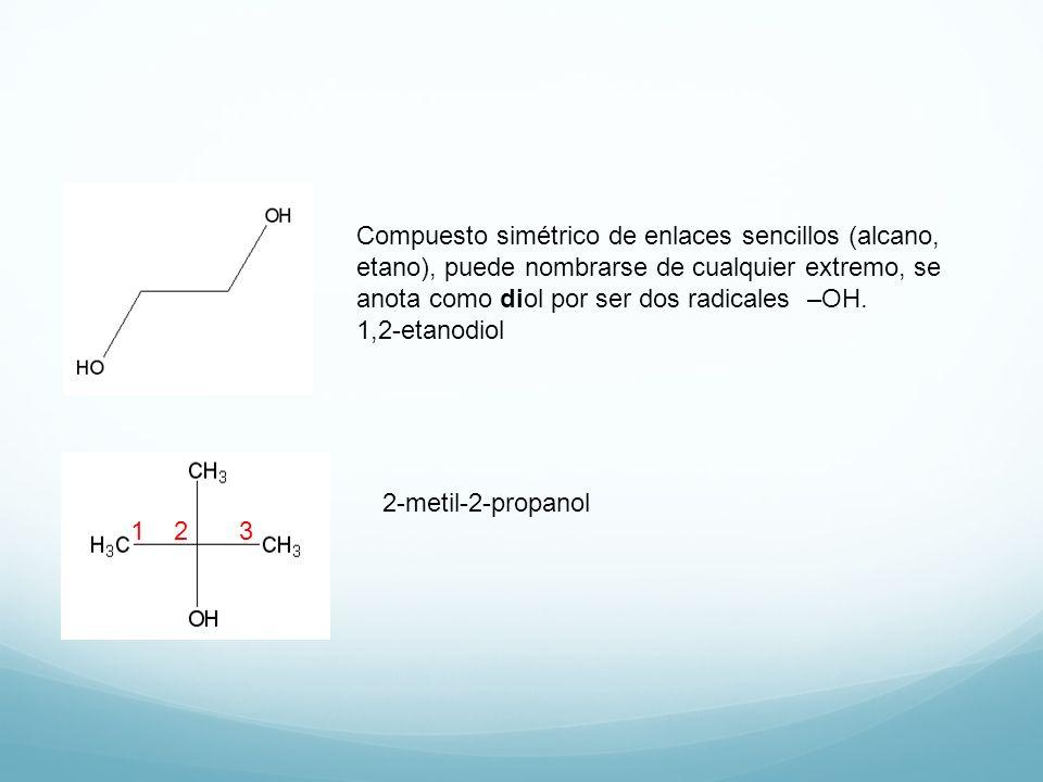 Compuesto simétrico de enlaces sencillos (alcano, etano), puede nombrarse de cualquier extremo, se anota como diol por ser dos radicales –OH.