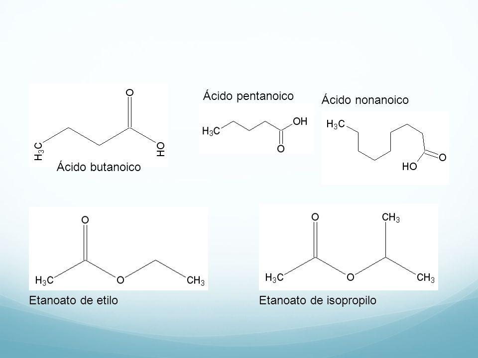 Ácido pentanoico Ácido nonanoico Ácido butanoico Etanoato de etilo Etanoato de isopropilo