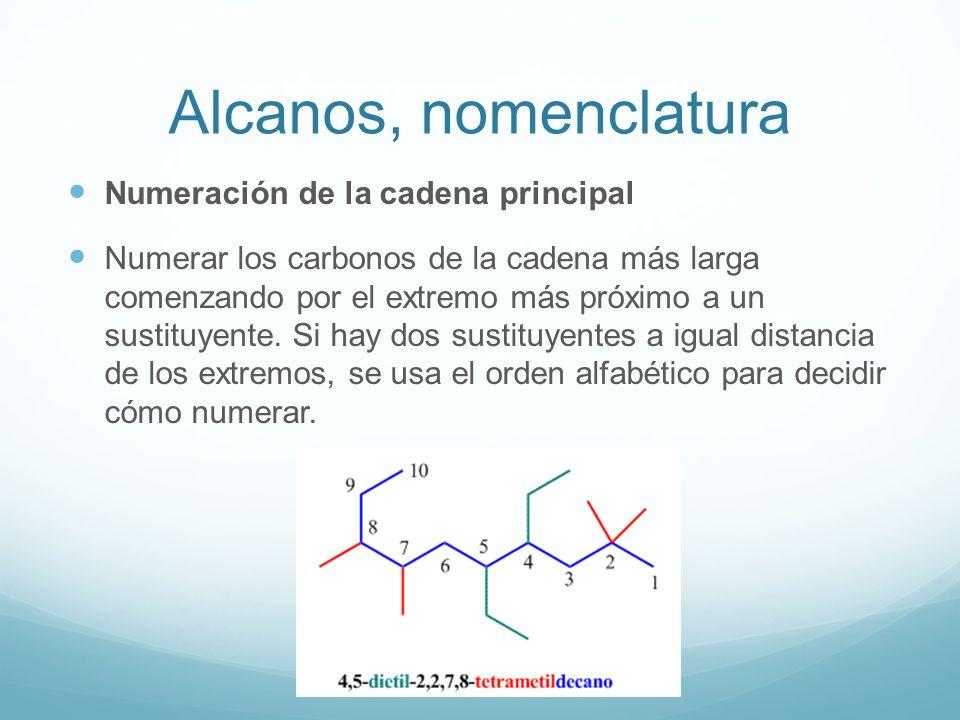 Alcanos, nomenclatura Numeración de la cadena principal