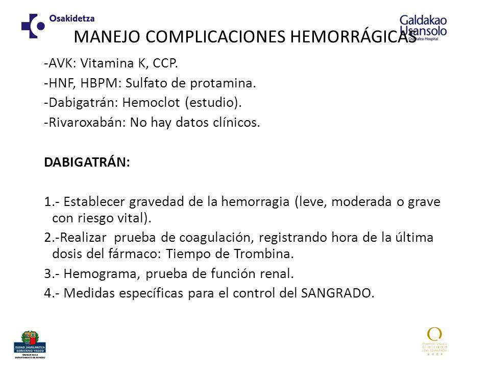 MANEJO COMPLICACIONES HEMORRÁGICAS