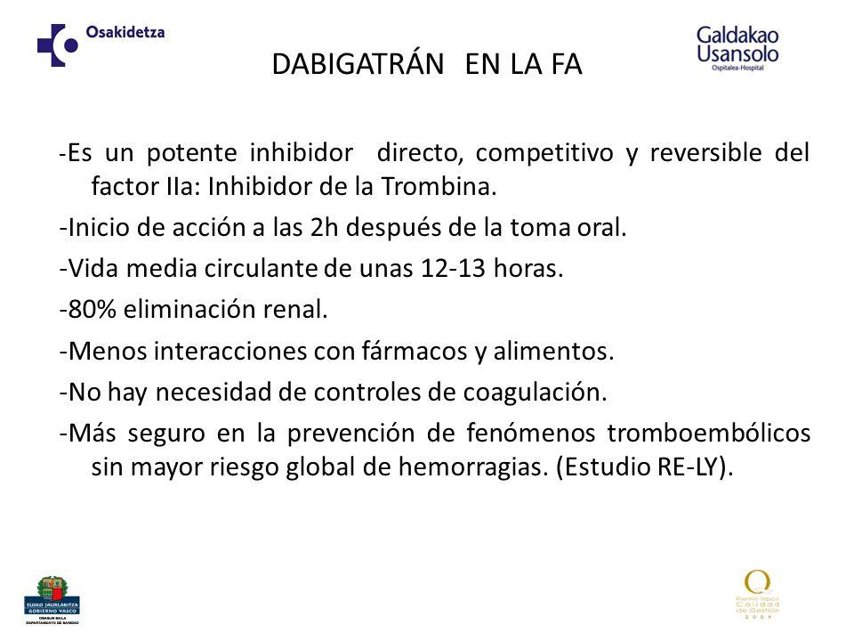 DABIGATRÁN EN LA FA -Es un potente inhibidor directo, competitivo y reversible del factor IIa: Inhibidor de la Trombina.