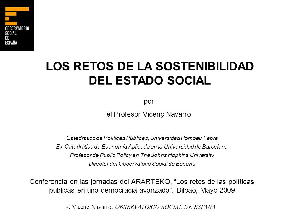 LOS RETOS DE LA SOSTENIBILIDAD DEL ESTADO SOCIAL
