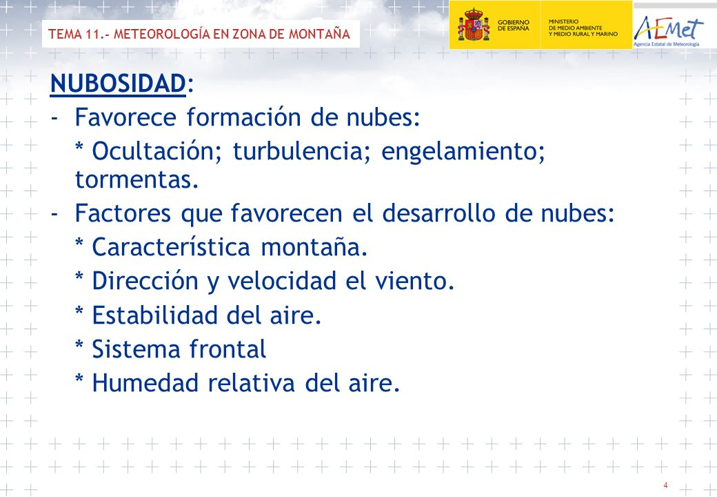 TEMA 11.- METEOROLOGÍA EN ZONA DE MONTAÑA