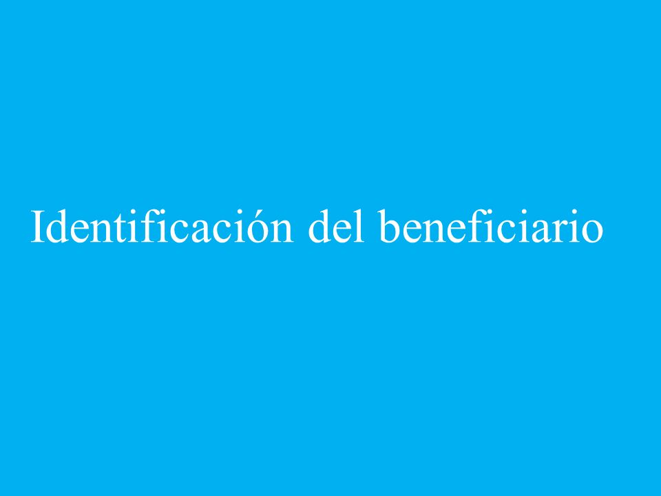 Identificación del beneficiario