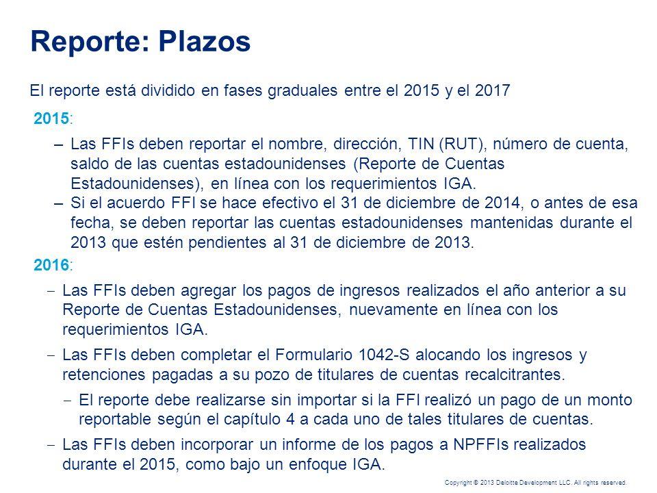 Reporte: Plazos El reporte está dividido en fases graduales entre el 2015 y el 2017. 2015: