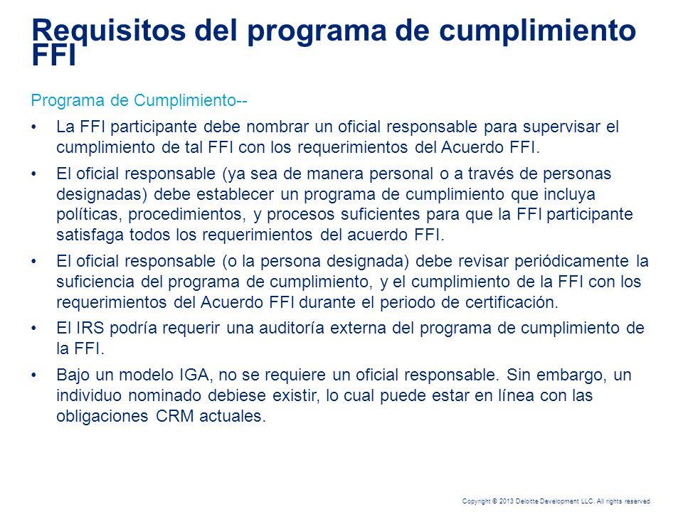 Requisitos del programa de cumplimiento FFI