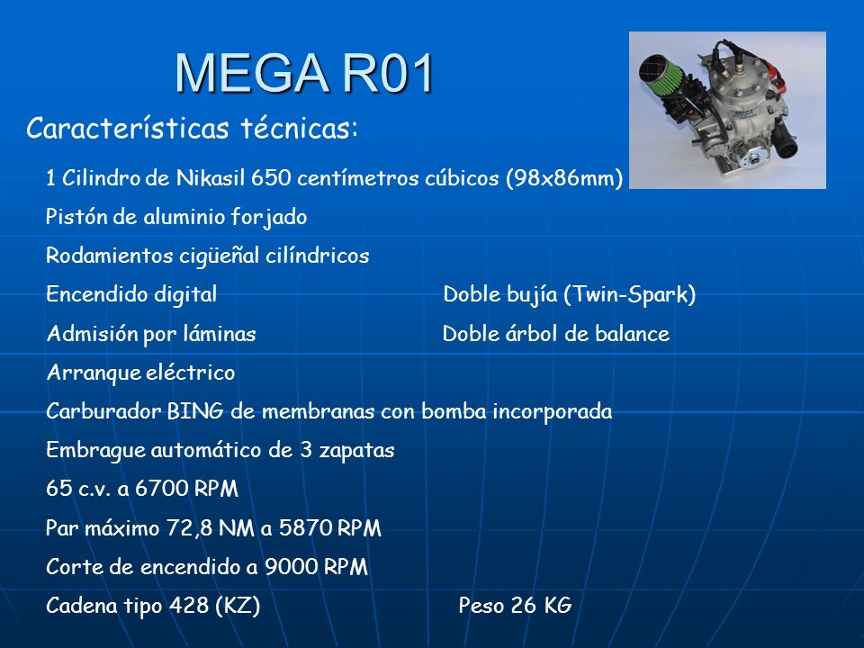 MEGA R01 Características técnicas: