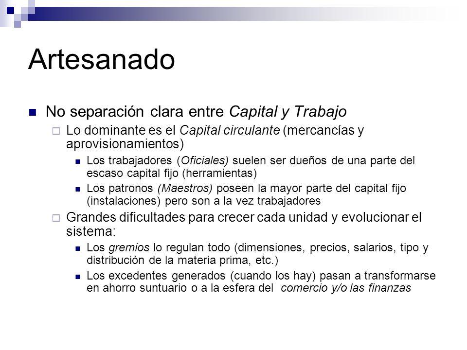 Artesanado No separación clara entre Capital y Trabajo