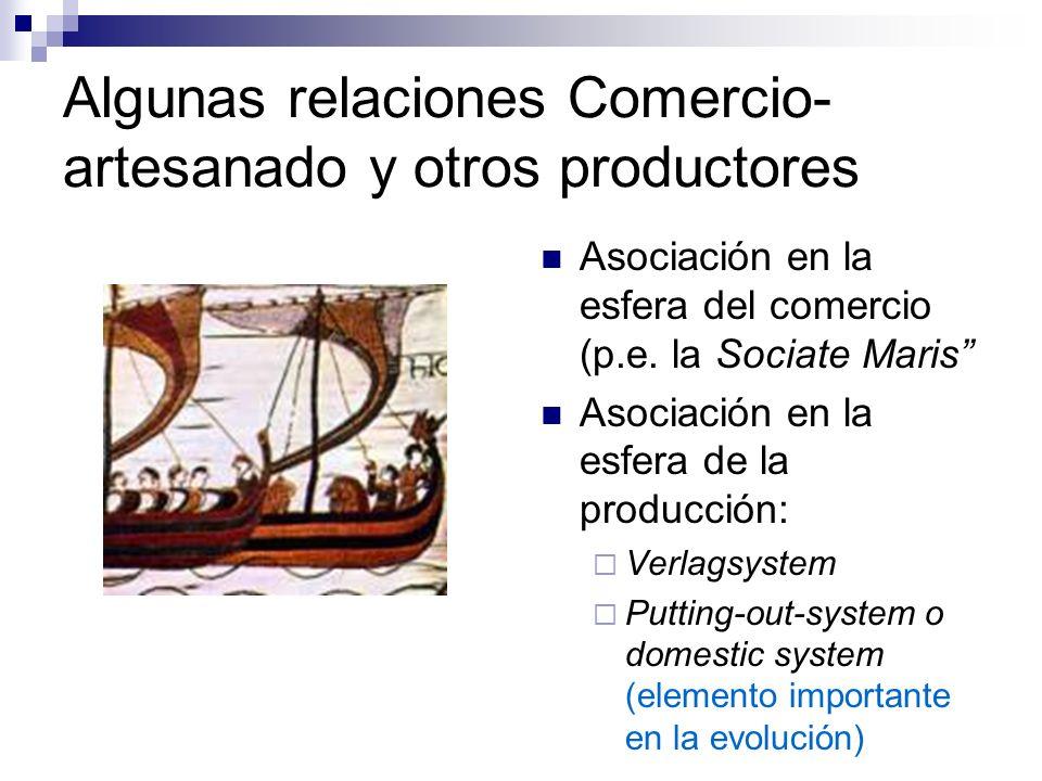 Algunas relaciones Comercio-artesanado y otros productores