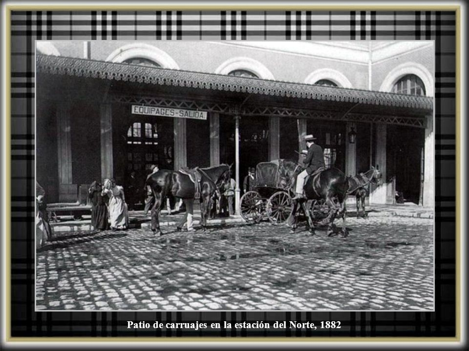 Patio de carruajes en la estación del Norte, 1882
