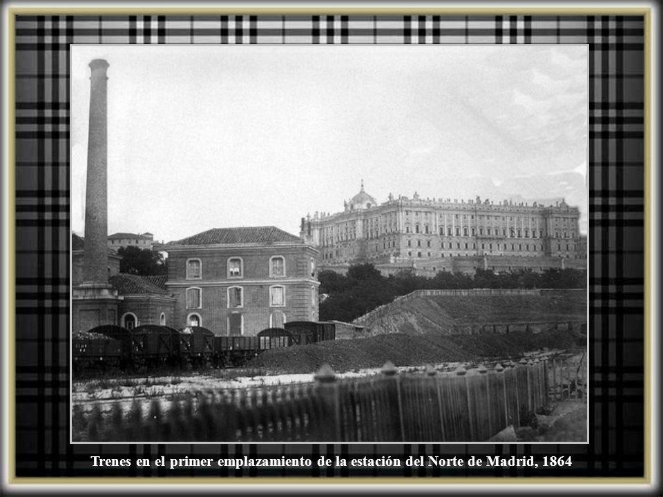 Trenes en el primer emplazamiento de la estación del Norte de Madrid, 1864