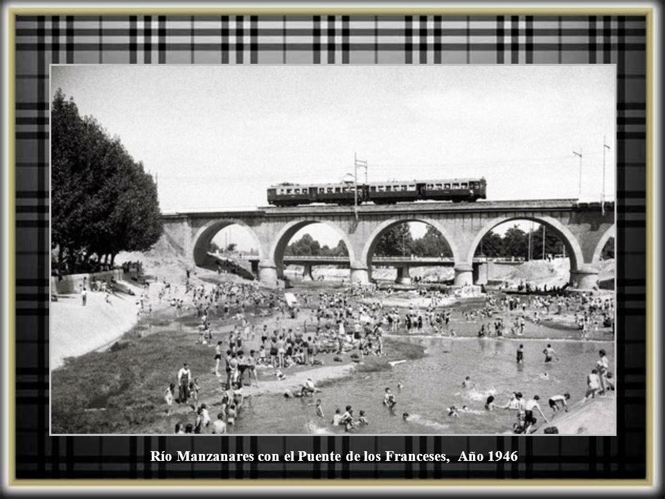 Río Manzanares con el Puente de los Franceses, Año 1946